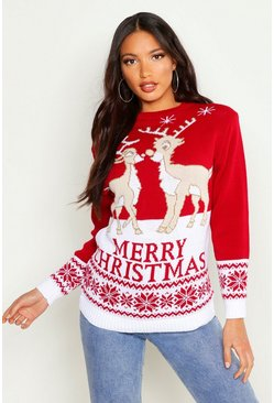 Red Two Reindeers Merry Christmas Jumper