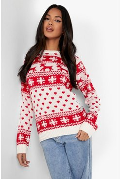 Cream white Reindeers And Snowflake Christmas Jumper