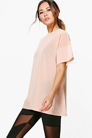 Pink Lola Fit Oversized Mesh Workout Tee