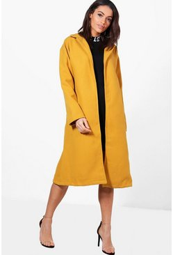 Mustard yellow Imogen Belted Wool Look Coat