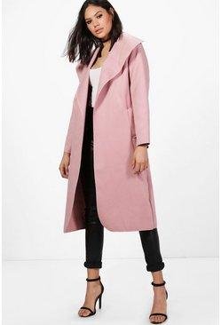 Pink Ellie Oversized Shawl Collar Belted Coat
