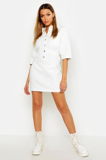White Popper Front Denim Dress