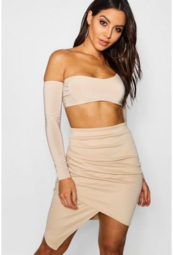 Taupe beige Rouched Side Asymetric Skirt