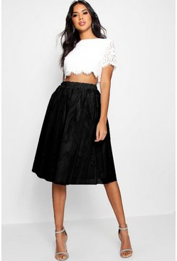 Black Woven Lace Top & Contrast Midi Skirt Co-Ord Set