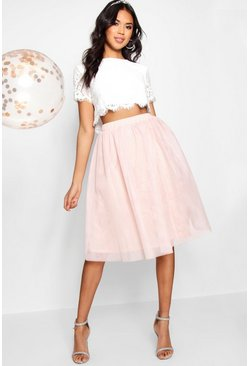 Blush pink Woven Lace Top & Contrast Midi Skirt Co-Ord Set