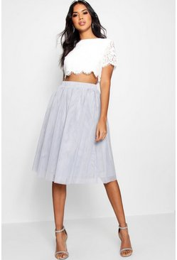 Grey Woven Lace Top & Contrast Midi Skirt Co-Ord Set