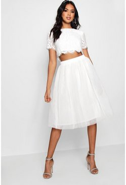 Wit white Geweven Kanten Top & Contrast Midi Rok Set