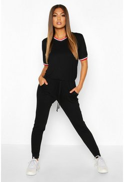 Black Sports Trim Jumpsuit