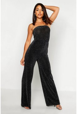 Navy Strapless Wide Leg Sparkle Jumpsuit