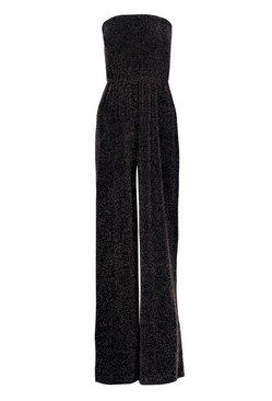 Black Strapless Wide Leg Sparkle Jumpsuit
