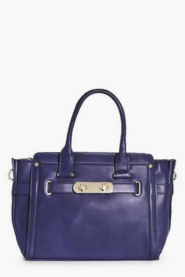 Blue Leah Double Turn Lock Detail Winged Day Bag
