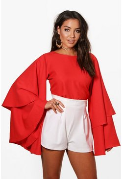 Red Exaggerated Tiered Sleeve V Back Top