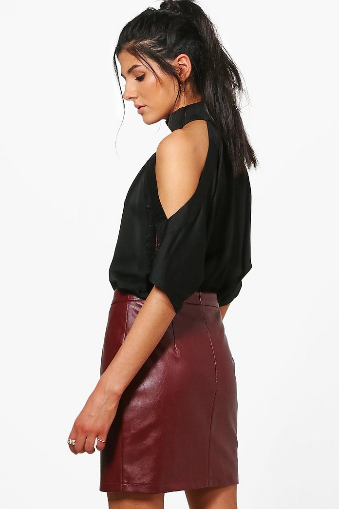 Heidi Lace Insert High Neck Cold Shoulder Blouse | boohoo