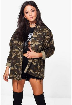 Multi Oversized Camo Washed Denim Shirt