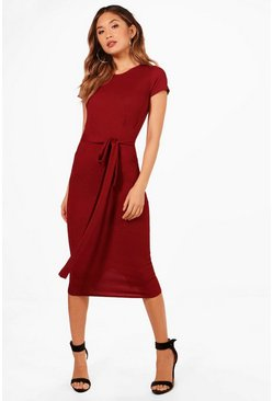 Burgundy red Pleat Front Belted Tailored Midi Dress