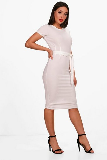 Cream white Pleat Front Belted Tailored Midi Dress