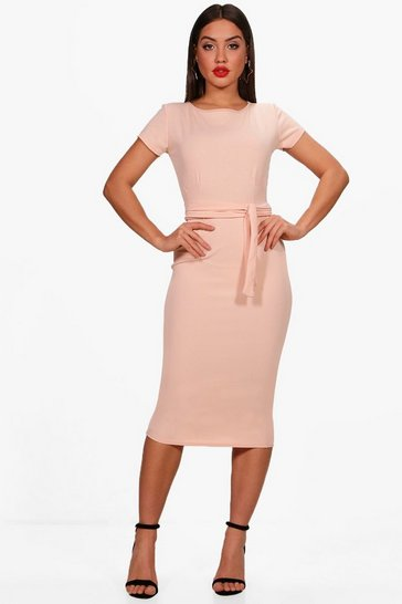 Nude Pleat Front Belted Tailored Midi Dress