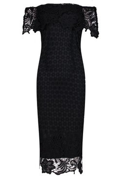 Black Boutique Lace Off Shoulder Midi Dress