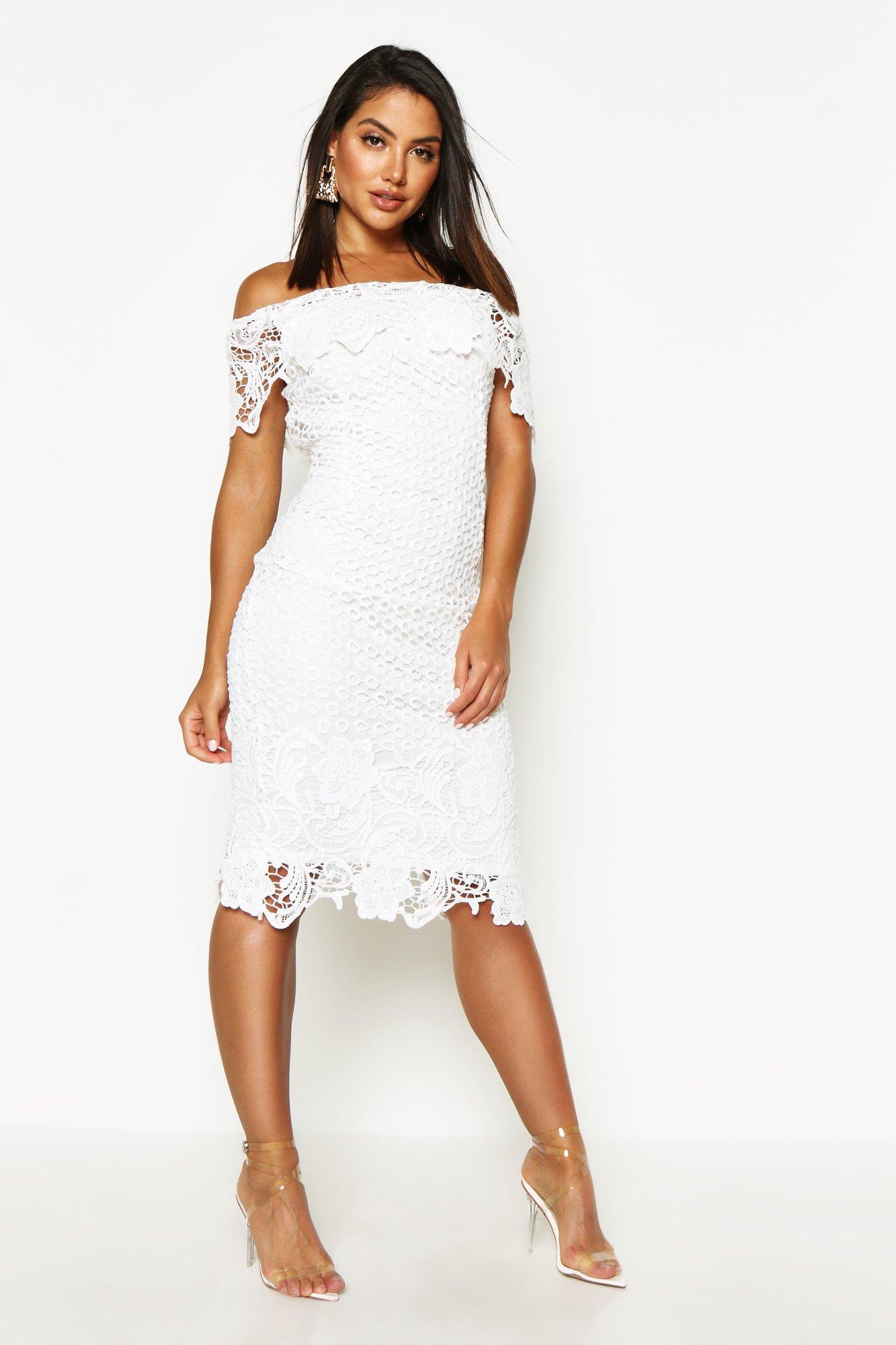 DRESSES Boutique Lace Off Shoulder Midi Dress