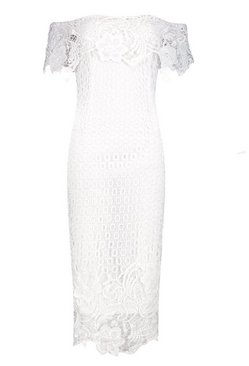 Ivory Boutique Lace Off Shoulder Midi Dress