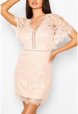 Blush pink Boutique  All Over Lace Bodycon Dress