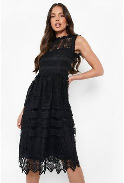 Black Boutique Lace Skater Bridesmaid Dress