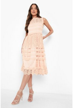 Collection robe patineuse midi en dentelle, Blush