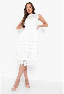 Collection robe patineuse midi en dentelle, Ivoire blanc
