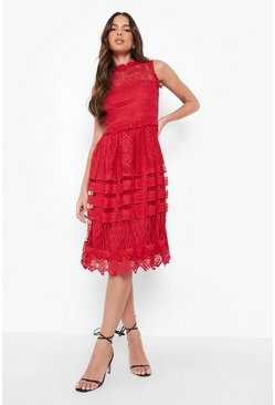 Red Boutique Lace Skater Bridesmaid Dress
