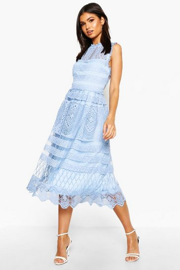 Sky blue Boutique Lace Skater Bridesmaid Dress