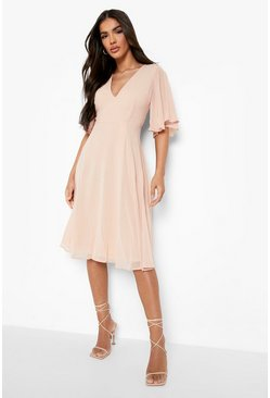 Blush pink Chiffon Angel Sleeve Midi Skater Bridesmaid Dress