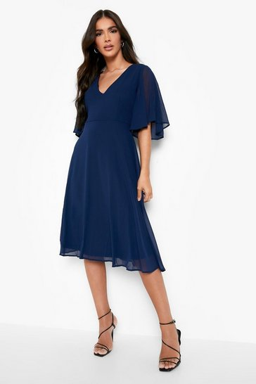 Navy Chiffon Angel Sleeve Midi Skater Bridesmaid Dress