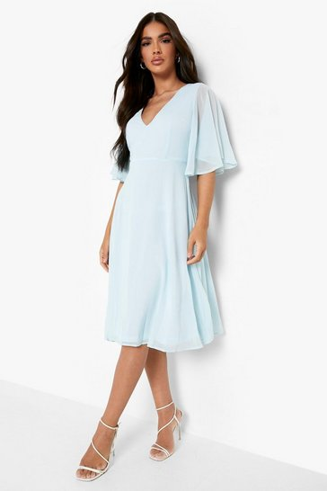 Sky blue Chiffon Angel Sleeve Midi Skater Bridesmaid Dress