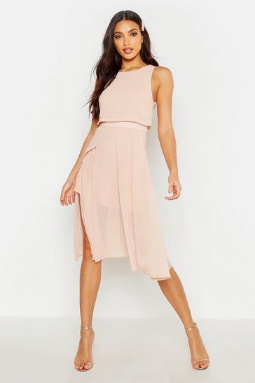 Blush pink Chiffon Layered Midi Skater Bridesmaid Dress