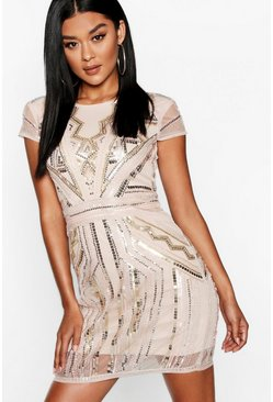 Blush pink Boutique  Sequin Cap Sleeve Shift Dress