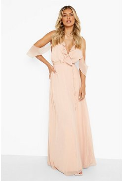 Blush pink Chiffon Frill Wrap Maxi Bridesmaid Dress