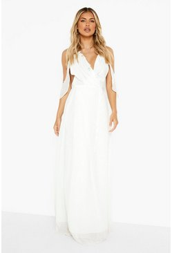 Ivory white Chiffon Frill Wrap Maxi Bridesmaid Dress