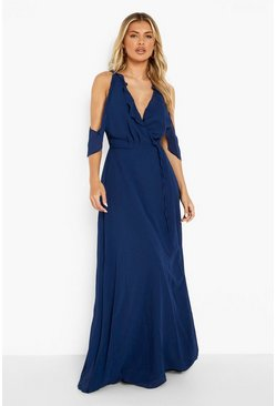 Navy Chiffon Frill Wrap Maxi Bridesmaid Dress