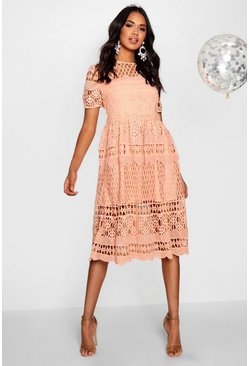Blush pink Boutique  Corded Lace Panelled Skater Dress