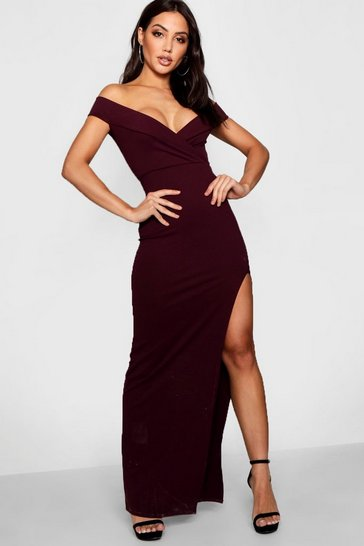 Berry red Wrap Off The Shoulder Maxi Bridesmaid Dress