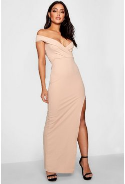 Stone beige Wrap Off The Shoulder Maxi Bridesmaid Dress