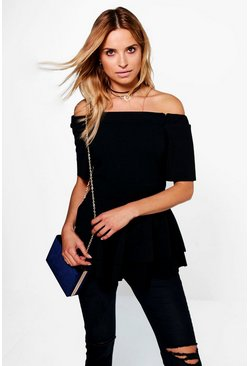 Black Bardot Double Layer Peplum Top