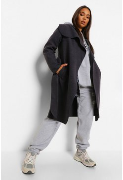 Charcoal grey Belted Shawl Collar Coat