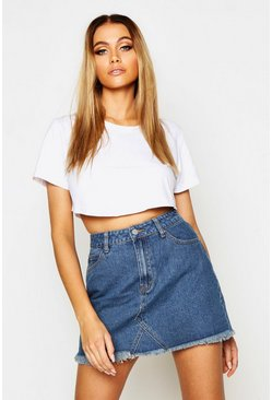 Mid blue blue High Waisted Micro Denim Mini Skirt