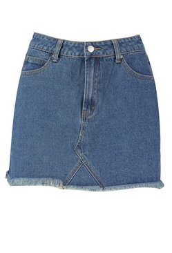 Mid blue High Waisted Micro Denim Mini Skirt