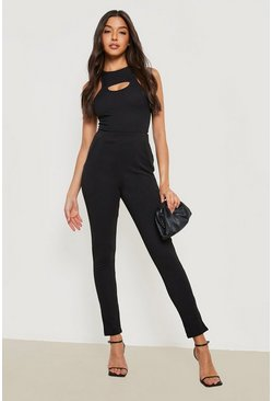 Black Basic Crepe Stretch Skinny Trousers