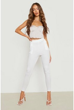 Ivory white Basic Crepe Stretch Skinny Pants