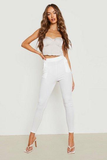Ivory white Basic Crepe Stretch Skinny Trousers