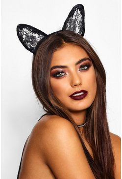 Black svart Halloween Lace Cat Ears