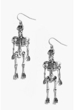 Silver Halloween Skeleton Earrings